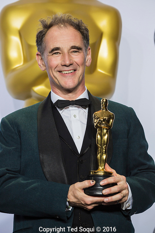 "88th Academy Awards press room.<br /> Mark Rylance, winner of best actor in a supporting role for the film ""Bridge of Spies."""