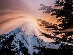 United States, Washington, Crystal Mountain ski resort at sunset (swirl effect)