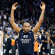 Anadolu Efes's Alfred Jamon Lucas celebrate victory during their Turkish Airlines Euroleague Basketball Top 16 Game 7 match Anadolu Efes between Real Madrid at the Abdi ipekci Arena in Istanbul, Turkey, Thursday, February 14, 2013. Photo by TURKPIX