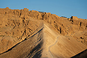 The rampart built by the Romans on the western side of Metzada, Masada national park, Israel
