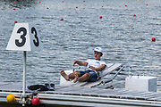 Plovdiv BULGARIA. 2017 FISA. Rowing World U23 Championships. <br /> Boat holder, relaxing before the start of the afternoon racing programme.<br /> Wednesday. PM, general Views, Course, Boat Area<br /> 15:49:09  Wednesday  19/07/2017<br /> <br /> [Mandatory Credit. Peter SPURRIER/Intersport Images].