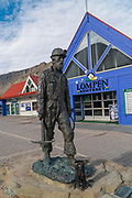 Coal miner statue created by Tore Bjorn Skjølsvik in 1999. It is called The Miner and is located in Longyearbyen, Svalbard, Norway.