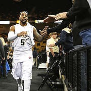 Central Florida guard Marcus Jordan (5) celebrates with fans after their game against Louisiana at the UCF Arena on December 15, 2010 in Orlando, Florida. UCF won the game79-58. (AP Photo/Alex Menendez)