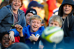 Young supporters rech for a wayward match ball in the stands during the second half of the match - Photo mandatory by-line: Rogan Thomson/JMP - Tel: Mobile: 07966 386802 09/11/2012 - SPORT - RUGBY - The Recreation Ground - Bath. Bath v Newport Gwent Dragons  - LV= Cup