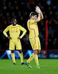 Liverpool's Steven Gerrard thanks supporters as he leaves the pitch in the final minutes of the game against AFC Bournemouth - Photo mandatory by-line: Paul Knight/JMP - Mobile: 07966 386802 - 17/12/2014 - SPORT - Football - Bournemouth - Goldsands Stadium - AFC Bournemouth v Liverpool - Capital One Cup