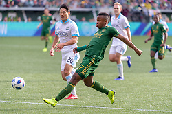 November 4, 2018 - Portland, OR, U.S. - PORTLAND, OR - NOVEMBER 04: Portland Timbers striker Jeremy Ebobisse (17) scores a goal during the Portland Timbers first leg of the MLS Western Conference Semifinals against the Seattle Sounders on November 04, 2018, at Providence Park in Portland, OR. (Photo by Diego Diaz/Icon Sportswire) (Credit Image: © Diego Diaz/Icon SMI via ZUMA Press)