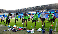 Paris Saint-Germain warm-up<br /> <br /> Photographer Kevin Barnes/CameraSport<br /> <br /> UEFA Women's Champions League Final - Pre match training session - Lyon Women v Paris Saint-Germain Women - Wednesday 31st May 2017 - Cardiff City Stadium<br />  <br /> World Copyright © 2017 CameraSport. All rights reserved. 43 Linden Ave. Countesthorpe. Leicester. England. LE8 5PG - Tel: +44 (0) 116 277 4147 - admin@camerasport.com - www.camerasport.com