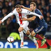 Scotland v Poland. Grzegorz Krychowiak (L) and James McArthur (R) in action . 8th Oct 2015