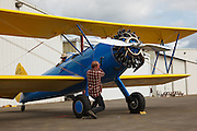 Starting the Stearman 70, prototype of the famous PT-13 and PT-17.