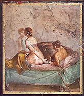 A Roman erotic fresco painting from Pompeii form the venereum, a room for sexual activities, of Casa di Cecilio Giocondo 50-79 AD  , inv no 10569 , Secret Museum or Secret Cabinet, Naples National Archaeological Museum .<br /> <br /> If you prefer to buy from our ALAMY PHOTO LIBRARY  Collection visit : https://www.alamy.com/portfolio/paul-williams-funkystock - Scroll down and type - Roman Art Erotic  - into LOWER search box. {TIP - Refine search by adding a background colour as well}.<br /> <br /> Visit our ROMAN ART & HISTORIC SITES PHOTO COLLECTIONS for more photos to download or buy as wall art prints https://funkystock.photoshelter.com/gallery-collection/The-Romans-Art-Artefacts-Antiquities-Historic-Sites-Pictures-Images/C0000r2uLJJo9_s0