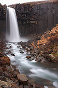 Views around Svartifoss, a waterfall surrounded by basalt columns, in Skaftafell National Park, in South-East Iceland