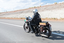 Giuseppe Savoretti of Italy riding his 1931 Moto Guzzi during stage 12 (299 m) of the Motorcycle Cannonball Cross-Country Endurance Run, which on this day ran from Springville, UT to Elko, NV, USA. Wednesday, September 17, 2014.  Photography ©2014 Michael Lichter.