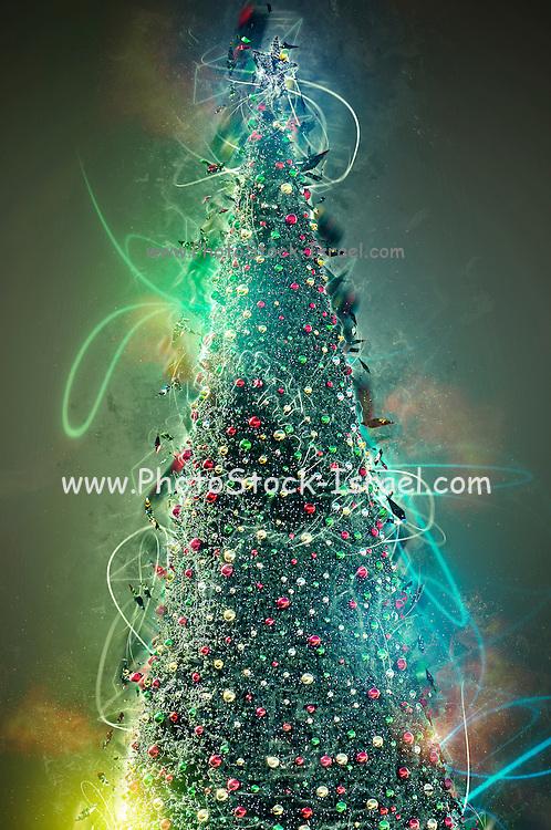 Digitally enhanced image of a Christmas tree
