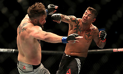 John Phillips (left) and Jack Marshman in action during their Middleweight bout during UFC Fight Night 147 at The O2 Arena, London.