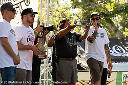 Cory and Zach Ness on stage to award the Arlen Ness award (made by Cosmic Joe) to Hawk Lawshe for capturing Arlen's creative spirit in his Best of Show bike. Born-Free Vintage Motorcycle show at Oak Canyon Ranch, Silverado, CA, USA. Sunday, June 23, 2019. Photography ©2019 Michael Lichter.