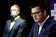 Victorian Premier Daniel Andrews during a press conference at Treasury Theatre. Victoria's health minister Jenny Mikakos has resigned on Saturday after the hotel quarantine inquiry. Premier Daniel Andrews gave evidence on the final day of the inquiry on Friday saying he regarded Jenny Mikakos accountable for the program that ultimately led to Victoria's COVID-19 second wave.  (Photo by Dave Hewison/Speed Media)