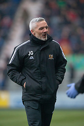 Alloa Athletic's manager Jim Goodwin after their second goal. Falkirk 1 v 2 Alloa Athletic, Scottish Championship game played 6/4/2019 at The Falkirk Stadium.