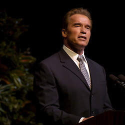College Station, TX  30NOV04:   California Governor Arnold Schwarzenegger receives the 2004 George Bush Award for Excellence in Public Service at the campus of Texas A&M University, site of the George Bush Presidential Library. <br /> ©Bob Daemmrich