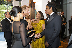 July 14, 2019 - London, London, United Kingdom - Image licensed to i-Images Picture Agency. 14/07/2019. London, United Kingdom. Prince Harry, the Duke of Sussex and Meghan Markle The Duchess of Sussex with Beyonce  and her husband, US rapper Jay-Z at the premiere of The Lion King in London  (Credit Image: © Pool/i-Images via ZUMA Press)