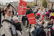 Meeting in Trafalgar square covered in bandages - The March of the Mummies organised by Pregnant then Screwed to highlight discrimination in the workplace against women who have children.