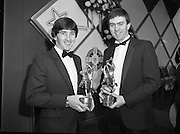 Bank Of Ireland GAA Hurling Allstars..1986..31.01.1986..01.31.1986..31st January 1986..To celebrate their achievements on the field of hurling the following players were recognised by the GAA and Bank of Ireland:.Pat Delaney,Offaly.Seamus Coen, Galway.Sylvie Linnane,Galway.Ger Coughlan,Offaly.Liam Fennelly,Kilkenny.Nicholas English,Tipperary.John Fenton,Cork.Pat Cleary,Offaly.Ger Cunningham,Cork.Padraig Horan,Offaly.Joe Cooney,Galway.Brendan Lynsky,Galway.Eugene Coughlan,Offaly.Pat Critchly,Laois.Peter Finnerty,Offaly...Inducted into the Hall of Fame were Tim Landers and John Joe Landers for football and Frank O'Rourke for hurling.The awards ceremony took place in The Burlington Hotel, Dublin...Picture of award winners,team-mates, John Fenton,Cork and Ger Cunningham Cork after they received their awards.