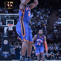 06 October 2010: New York Knicks guard Raymond Felton #2 takes a jumpshot during the Minnesota Timberwolves 106-100 victory over the New York Knicks, during 2010 NBA Europe Live, at the POPB Arena in Paris, France.