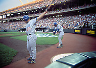 June 27th 1998 Kansas City, MO.Cubs left fielder Matt Mieske (left) and right fielder Sammy Sosa warm before their at bats during an interleague game at Kauffman Stadium.. Photo by Chris Machian