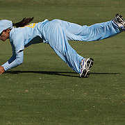 Amita Sharma takes a great catch to dismiss New Zealand batter Amy Satterthwaite during the match between New Zealand and India in the Super 6 stage of the ICC Women's World Cup Cricket tournament at North Sydney  Oval, Sydney, Australia on March 17, 2009. New Zealand beat India by 5 wickets. Photo Tim Clayton