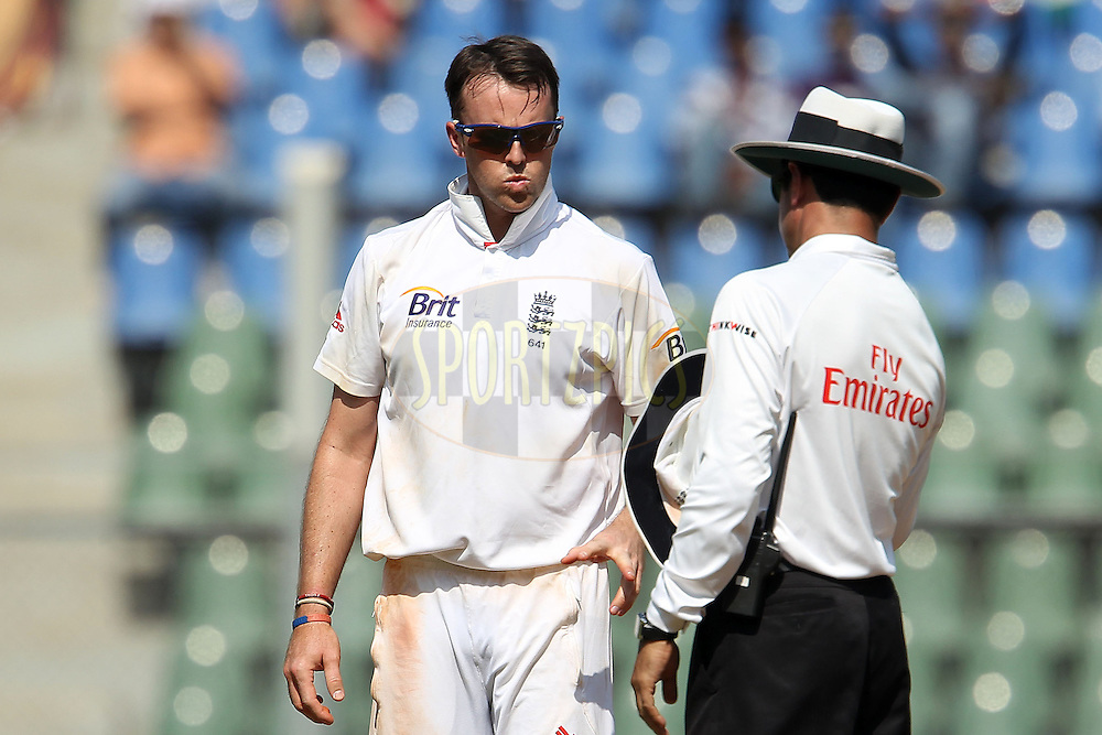 Graeme Swann of England reacts after an unsuccessful appeal during day 1 of the 2nd Airtel Test match between India and England held at the Wankhede Stadium in Mumbai, India on the 23rd November 2012...Photo by Ron Gaunt/ BCCI/ SPORTZPICS..Use of this image is subject to the terms and conditions as outlined by the BCCI. These terms can be found by following this link:..http://www.sportzpics.co.za/image/I0000SoRagM2cIEc