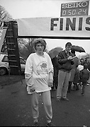 First All-Traveller Mini Marathon.    (R53)..1987..05.04.1987..04.05.1987..5th April 1987..Today saw the running of the first All-Traveller Mini Marathon in aid of Trocaire the World Aid Agency. The race was run over a 10k course in the Phoenix Park, Dublin. Bishop Eamon Casey a patron of the charity was on hand to lend support...Pictured is Kate Connors from New Ross who won the womens race in the Trocaire Mini Marathon.