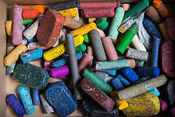 Close-up of a box of chalks, crayons, Munich, Germany
