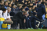 Steve McClaren, the Newcastle United manager  throws a bottle of water to the ground out of frustration during the 2nd half. Barclays Premier league match, Tottenham Hotspur v Newcastle Utd at White Hart Lane in London on Sunday 13th December 2015.<br /> pic by John Patrick Fletcher, Andrew Orchard sports photography.