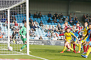 Goal scored by Wimbledon forward James Hanson (18)  during the EFL Sky Bet League 1 match between Scunthorpe United and AFC Wimbledon at Glanford Park, Scunthorpe, England on 30 March 2019.