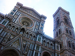 Facade of the cathedral of The Basilica di Santa Maria del Fiore (English: Basilica of Saint Mary of the Flowers) is the cathedral church (Duomo) of Florence, Italy. 2nd July, 2011..©Pic : Michael Schofield.