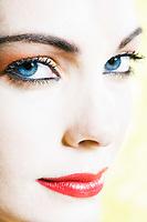 beautiful caucasian woman beauty portrait smiling studio on yellow background