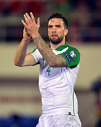 Republic of Ireland's Shane Duffy applauds the fans after the UEFA Euro 2020 Qualifying, Group D match at the Victoria Stadium, Gibraltar.