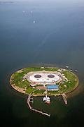 Nederland, Noord-Holland, Gemeente Muiden, 28-04-2010; Forteiland Pampus in het IJmeer, onderdeel van de Stelling van Amsterdam..Rijksmonument, onderdeel van de Werelderfgoedlijst van Unesco (zie ook eerdere foto's)..Fort Pampus Island in the IJmeer, part of the Defence Line of Amsterdam.(Also see previous photos).luchtfoto (toeslag), aerial photo (additional fee required).foto/photo Siebe Swart