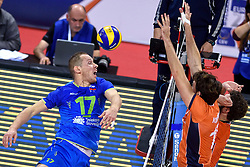 Tine Urnaut during volleyball match between National teams of Netherlands and Slovenia in Playoff of 2015 CEV Volleyball European Championship - Men, on October 13, 2015 in Arena Armeec, Sofia, Bulgaria. Photo by Ronald Hoogendoorn / Sportida