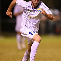 BRISBANE, AUSTRALIA - FEBRUARY 10: Nicholas Panetta of United dribbles the ball during the NPL Queensland Senior Mens Round 2 match between Gold Coast United and Brisbane Roar Youth at Station Reserve on February 10, 2018 in Brisbane, Australia. (Photo by Football Click / Patrick Kearney)