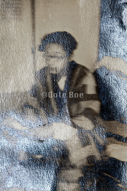 oxidizing photo with portrait of a adult man sitting Japan