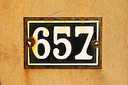 Detail of entrance number 657 6 5 7 six five seven six hundred and fifty seven. Clos des Iles Le Brusc Six Fours Cote d'Azur Var France