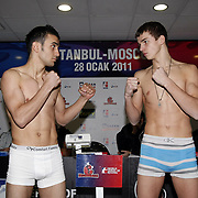 Istanbulls Mehmet TOPCAKAN (L) and Kremlin Bears GRIGORIY NIKOLAYCHUK (R) boxers seen during their Presentation and the weighing ceremony matchday 5 of the World Series of Boxing at Ahmet Comert Arena in Istanbul, Turkey, Thursday, January 27, 2011. Photo by TURKPIX