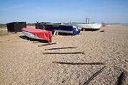 Fishing boats on shingle beach Dunwich, Suffolk
