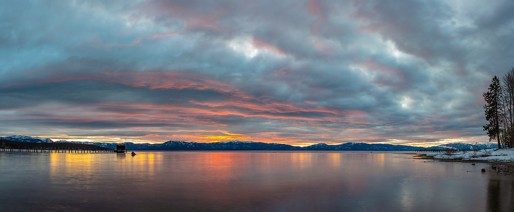 """""""Tahoe City Pier at Sunrise 7"""" - Stitched panoramic photograph of a colorful sunrise at the pier in Tahoe City, shot from the William B Layton Park."""
