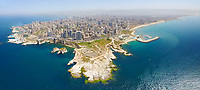 Aerial panoramic photo of Beirut city showing Rouche rock and the corniche. <br /> <br /> By Bader Helal - Bader Photography