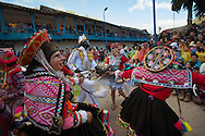 """Feast of """"Mamacha del Carmen"""" of Paucartambo. In the afternoon, socalled """"The Guerrilla"""" the group of dancers waka waka staged a symbolic killing of the bull, a perfect revenge on the Iberian colonialism"""