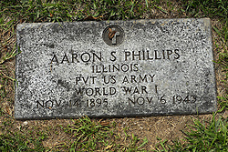 31 August 2017:   Veterans graves in Park Hill Cemetery in eastern McLean County.<br /> <br /> Aaron S Phillips  Illinois PVT US Army  World War I  Nov 14 1895  Nov 6 1943
