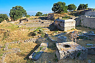 Walls and remains of buildings of the sanctuary of Troy, from Troia VIII & Troia IX period 700B.C to Hellenistic Ilium of 1st cent. B.C. Troy archaeological site, A UNESCO World Heritage Site, Turkey .<br /> <br /> If you prefer to buy from our ALAMY PHOTO LIBRARY  Collection visit : https://www.alamy.com/portfolio/paul-williams-funkystock/troy-archaeological-site-turkey.html<br /> <br /> Visit our ANCIENT WORLD PHOTO COLLECTIONS for more photos to download or buy as wall art prints https://funkystock.photoshelter.com/gallery-collection/Ancient-World-Art-Antiquities-Historic-Sites-Pictures-Images-of/C00006u26yqSkDOM