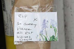 © Licensed to London News Pictures. 12/07/2019. London, UK. A floral tribute placed where a teenager was stabbed carries a message to 'PUT KNIVES DOWN'  after a fight  in Purley, south London. A teenager was murdered and two others were injured, including the murder suspect. Photo credit: Peter Macdiarmid/LNP