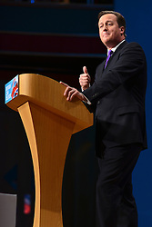 © Licensed to London News Pictures. 10/10/2012. Birmingham, UK Prime Minister David Cameron delivers his keynote speech at The Conservative Party Conference at the ICC today 10th October 2012. Photo credit : Stephen Simpson/LNP